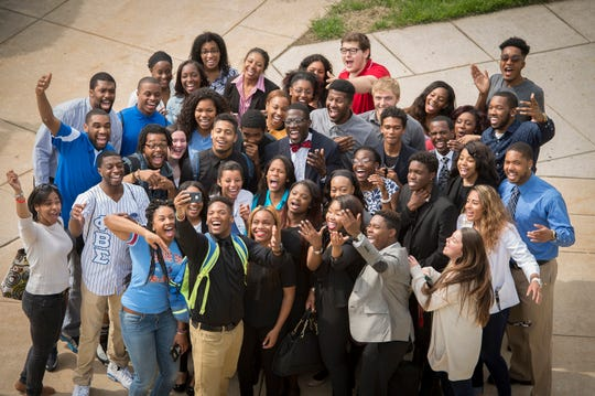 Delaware State University students take a group selfie.
