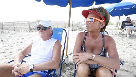 Mark and Pattie Hughes of Donegal, Pa., ended up in Rehoboth Beach after having to evacuate from the Outer Banks.