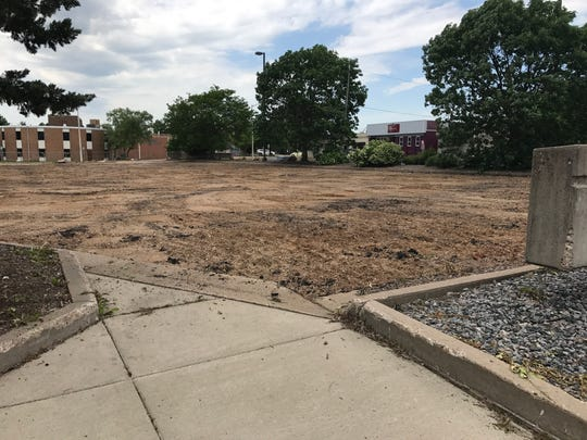 A parking lot on the Nash Block was removed in the summer of 2017. Photo taken June 8, 2017.
