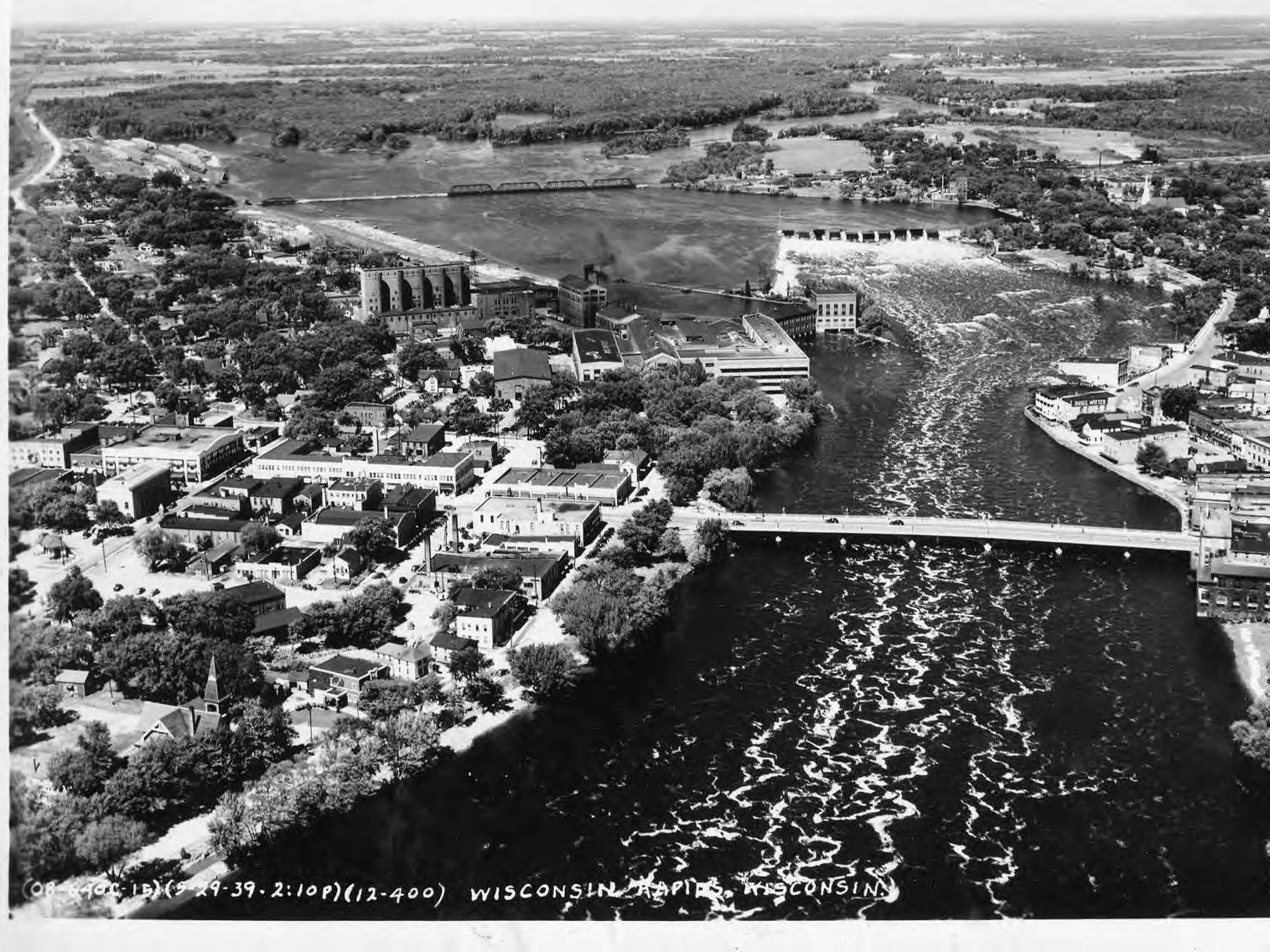 This photo, taken May 22, 1939 shows an aerial view of Wisconsin Rapids.