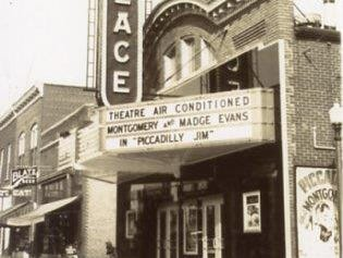 "The Palace Theater was built about 1914. In this photo, the theater's sign advertises air conditioning along with the feature movie ""Piccadilly Jim."""