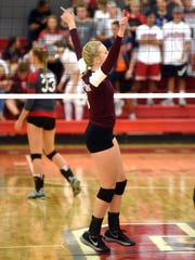 John Glenn's Kenzie Knellinger celebrates a point against Sheridan in a match from 2017.