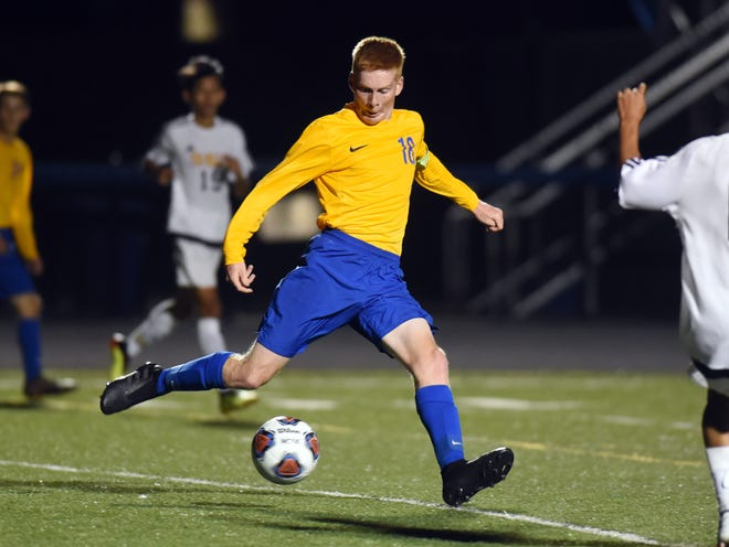 Cole Thomas, of Maysville, clears the ball during a game against Tri-Valley earlier this season. Thomas earned the MVL boys soccer player of the year award.