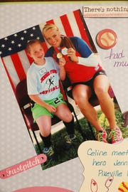 A picture of Celine Wyatt and her hero Jennie Finch in a Wyatt family album.
