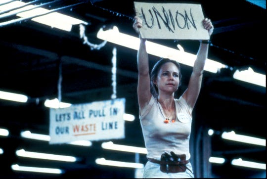 "Sally Field in a scene from ""Norma Rae."" She won an Oscar for her roll as a mill worker and union organizer."