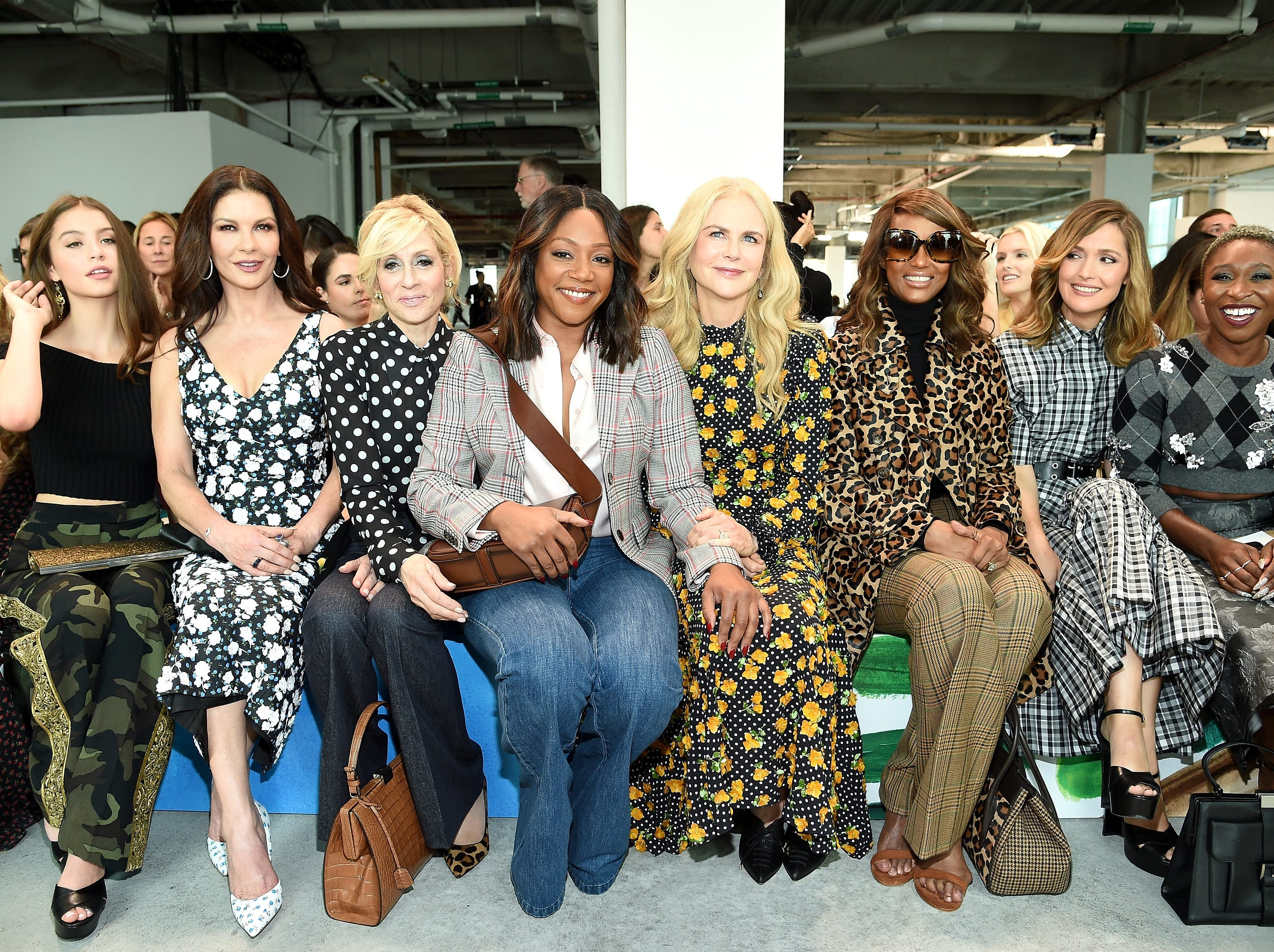NEW YORK, NY - SEPTEMBER 12:  (L-R) Carys Zeta Douglas, Catherine Zeta-Jones, Judith Light, Tiffany Haddish, Nicole Kidman, Iman, Rose Byrne, and Cynthia Erivo attend the Michael Kors Collection Spring 2019 Runway Show at Pier 17 on September 12, 2018 in New York City.  (Photo by Dimitrios Kambouris/Getty Images for Michael Kors) ORG XMIT: 775216953 ORIG FILE ID: 1032085862
