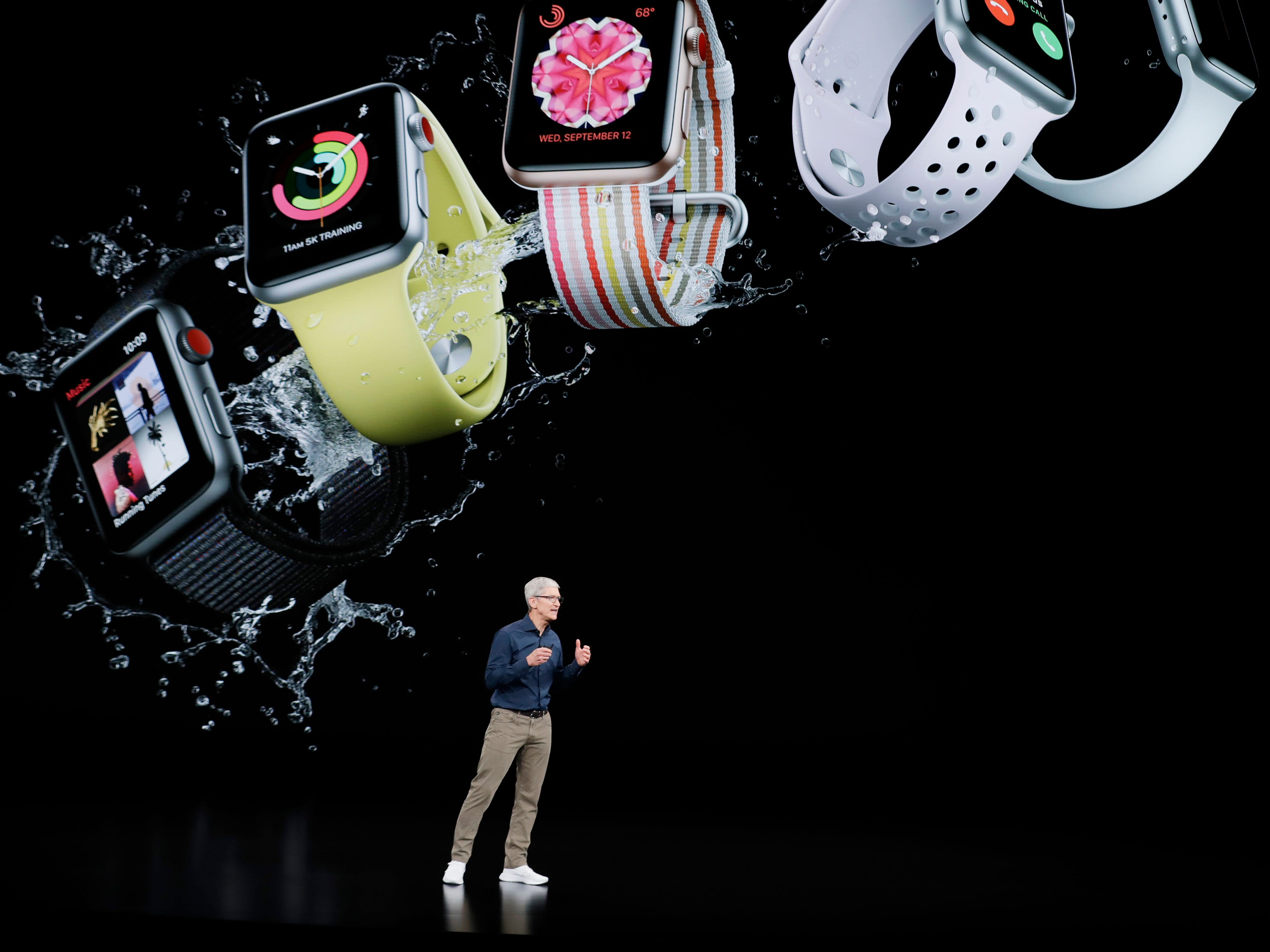 Apple CEO Tim Cook speaks about the Apple Watch at the Steve Jobs Theater during an event to announce new Apple products Wednesday, Sept. 12, 2018, in Cupertino, Calif.