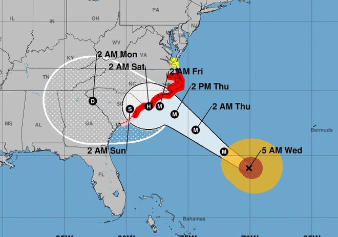 This map provided by the National Hurricane Center shows the expected track of Hurricane Florence as of early Wednesday, Sept. 12, 2018.