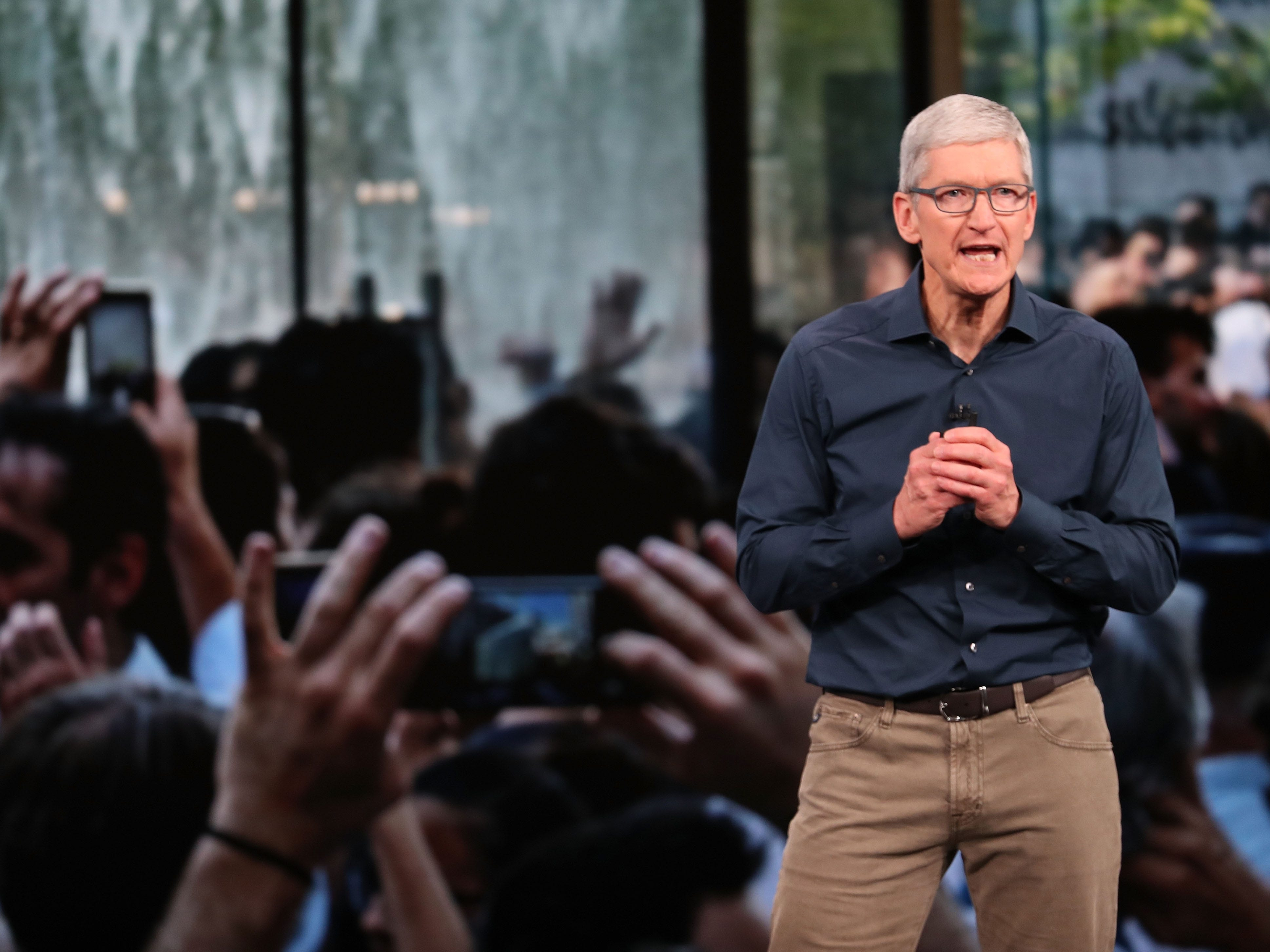 Tim Cook, chief executive officer of Apple,  speaks during an event at the Steve Jobs Theater at Apple Park on Sept. 12, 2018, in Cupertino, Calif.
