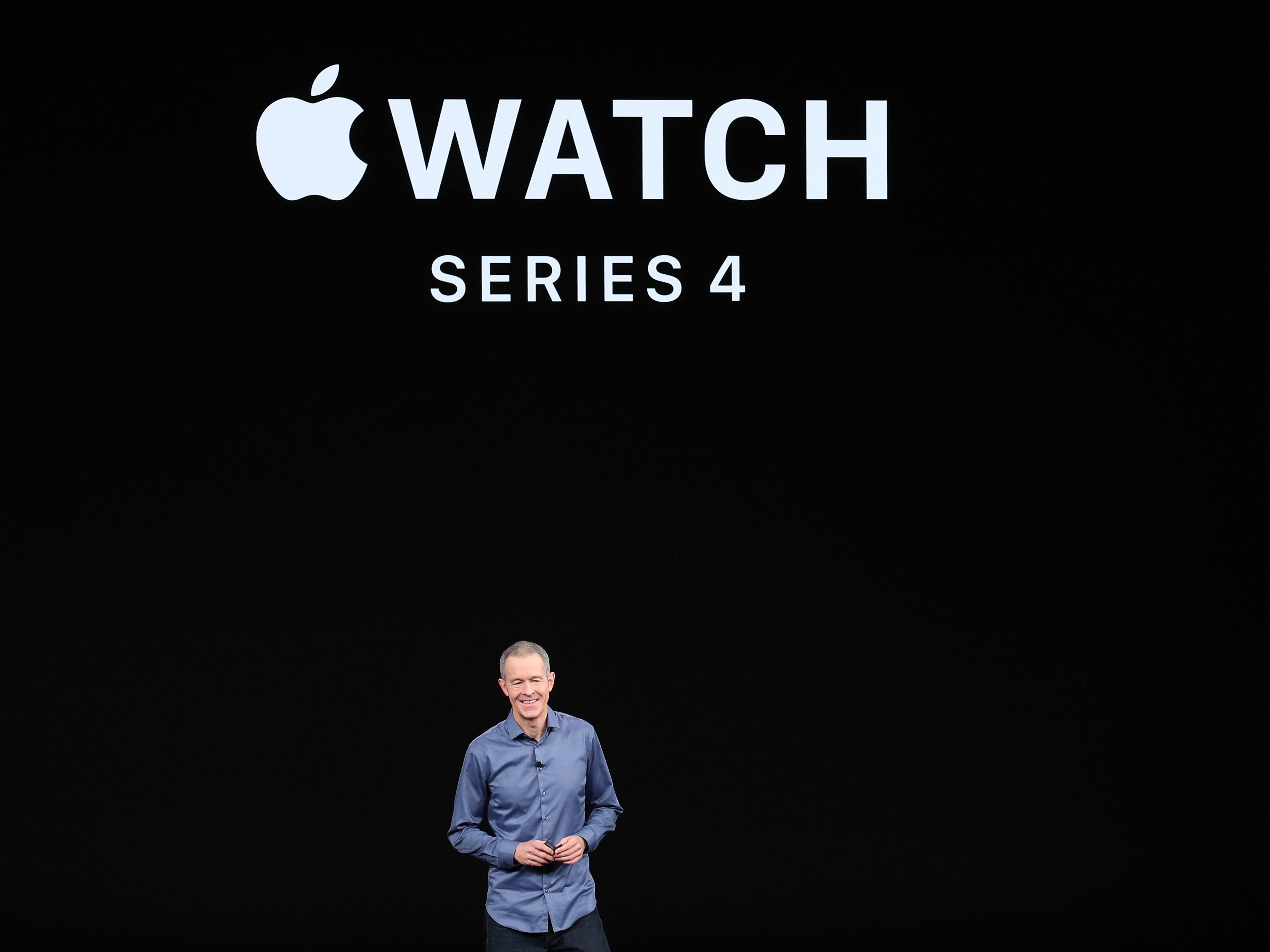 Jeff Williams, chief operating officer of Apple Inc., speaks during an Apple event at the Steve Jobs Theater at Apple Park on Sept. 12, 2018 in Cupertino, Calif.