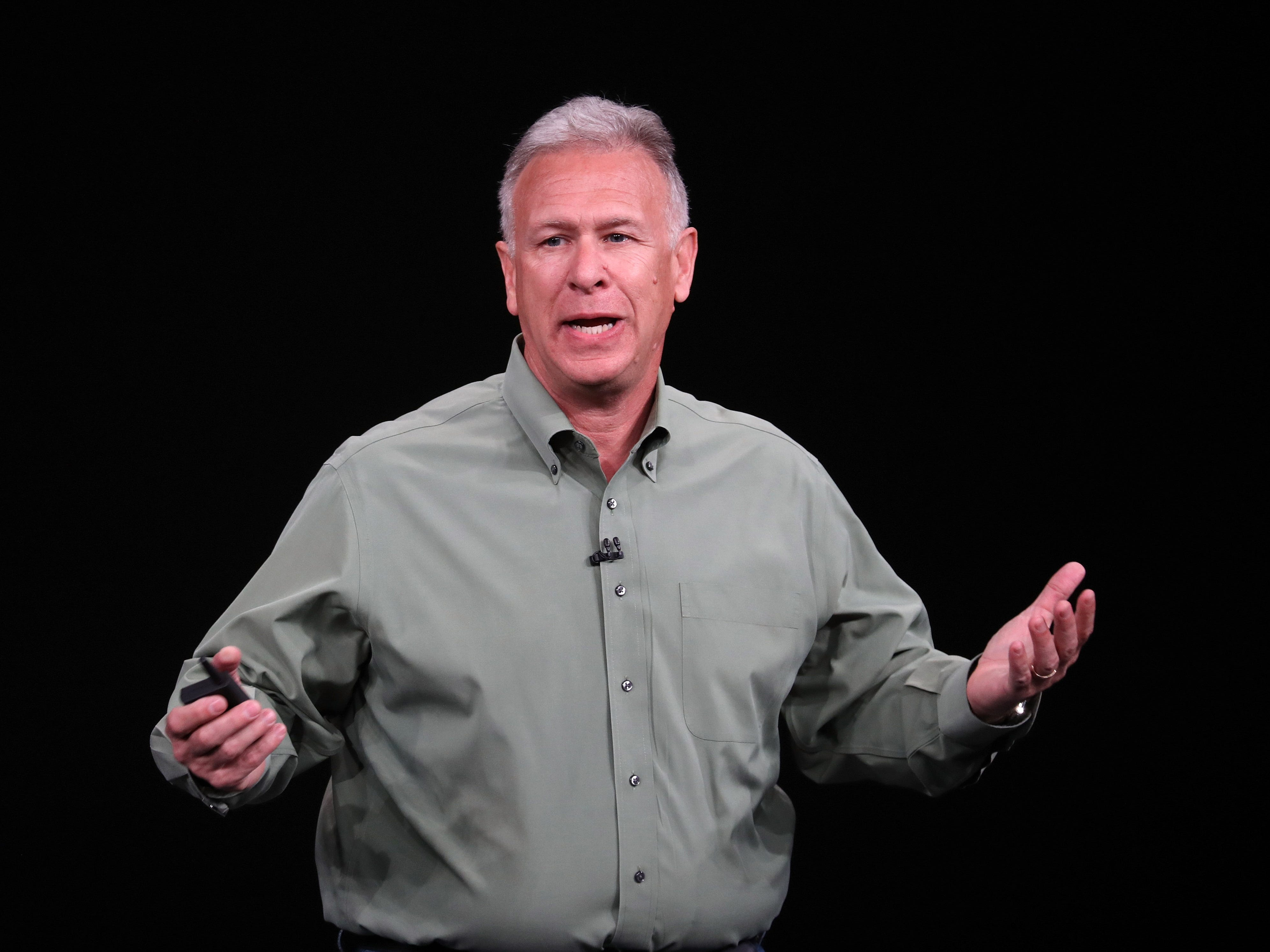 Phil Schiller, senior vice president of worldwide marketing at Apple Inc., speaks at an Apple event  at the Steve Jobs Theater at Apple Park on Sept. 12, 2018 in Cupertino, Calif.