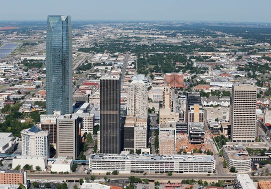 The Oklahoma City skyline is pictured in an aerial photo, Thursday, May 15, 2014. (AP Photo/Sue Ogrocki) ORG XMIT: OKSO