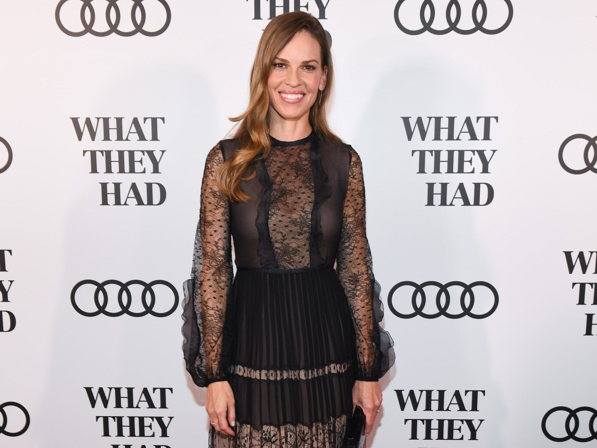 "TORONTO, ON - SEPTEMBER 11:  Hilary Swank attends Audi Canada hosts Hilary Swank in celebration of ""What They Had"" during the Toronto International Film Festival at MIRA on September 11, 2018 in Toronto, Canada.  (Photo by Sonia Recchia/Getty Images for Audi) ORG XMIT: 775225087 ORIG FILE ID: 1031699634"
