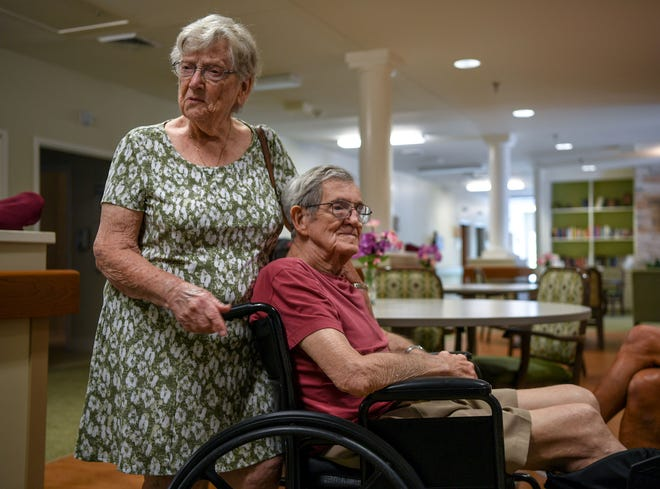 Kay Torrens, 88, and her husband, Leo, 87, have lived at the Trinity Grove Nursing Home in Wilmington, N.C. for 25 years.  She's decided to leave and ride out the storm with a relative in Virginia while her husband stays behind.