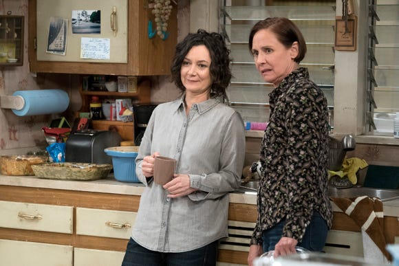 "Sara Gilbert and Laurie Metcalf return to ""The Conners"" in a first-look still."