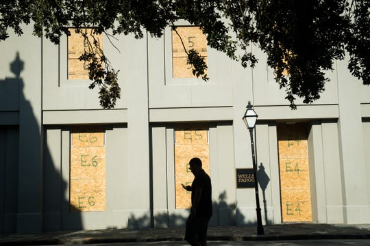 The Wells Fargo Bank Building on Meeting Street in Charleston boarded in preparation for Hurricane Florence making landfall along the East Coast.