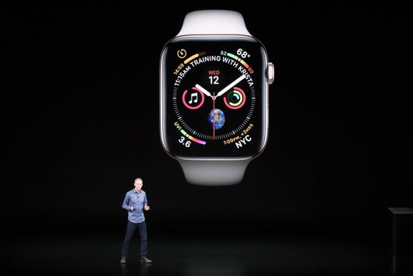Apple's Jeff Williams introduces the Apple Watch series 4 at a press event in Cupertino, Calif.