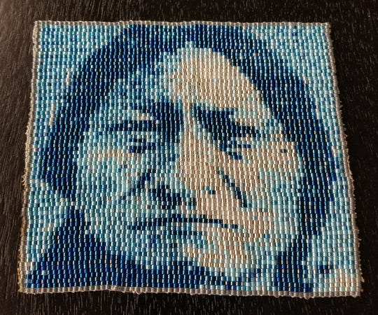 Rowe's beadwork of Sitting Bull.