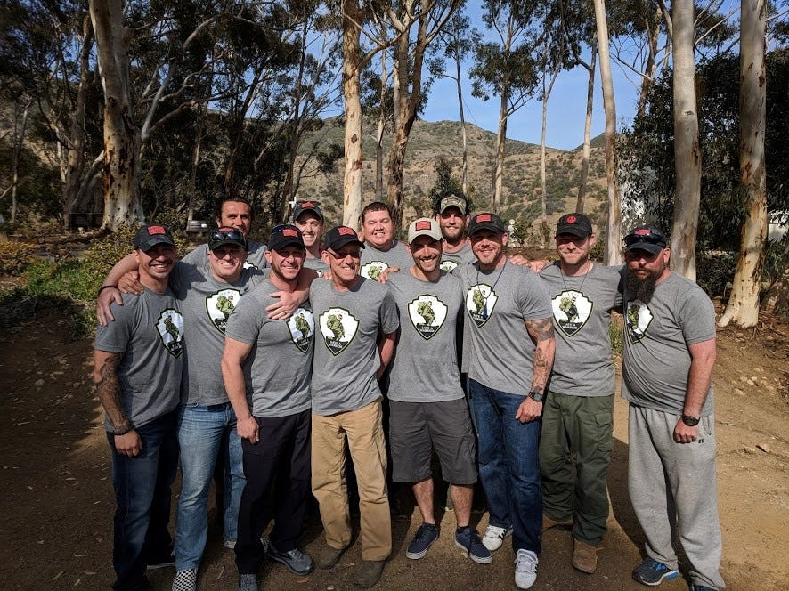 """Jeremiah Hale, front row far left, considers his """"fellow military and first responder brothers"""" an integral part of his support system."""