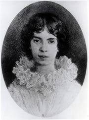 Undated portrait of poet Emily Dickinson.