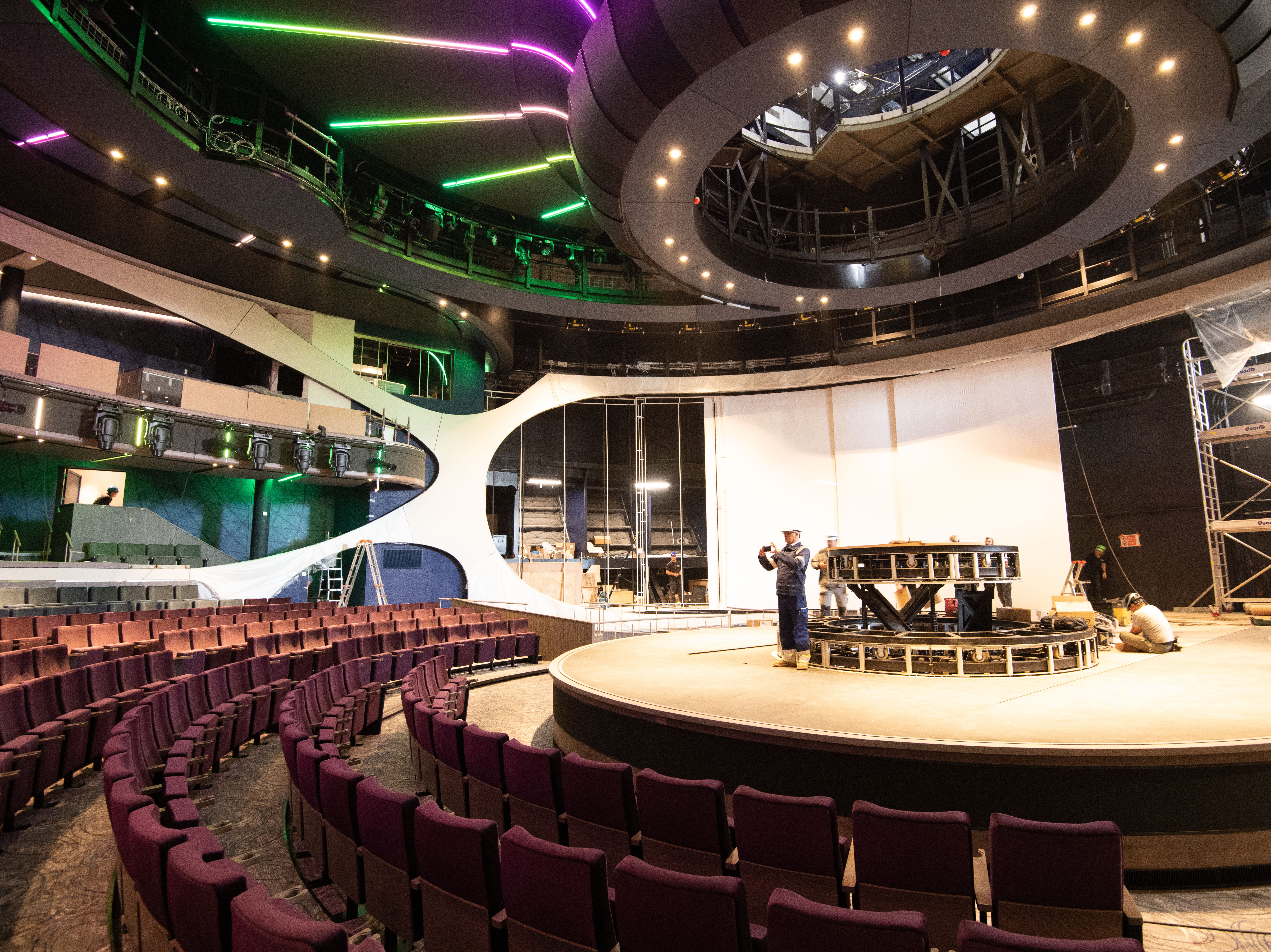 Celebrity Edge has a main theater that is being billed as the most technologically advanced theater ever on a Celebrity Cruises ship. It features two rotating spiral staircases, 10 synchronized panoramic projection screens, 16 state-of-the-art video mapping laser projectors and aerial performance rigging.