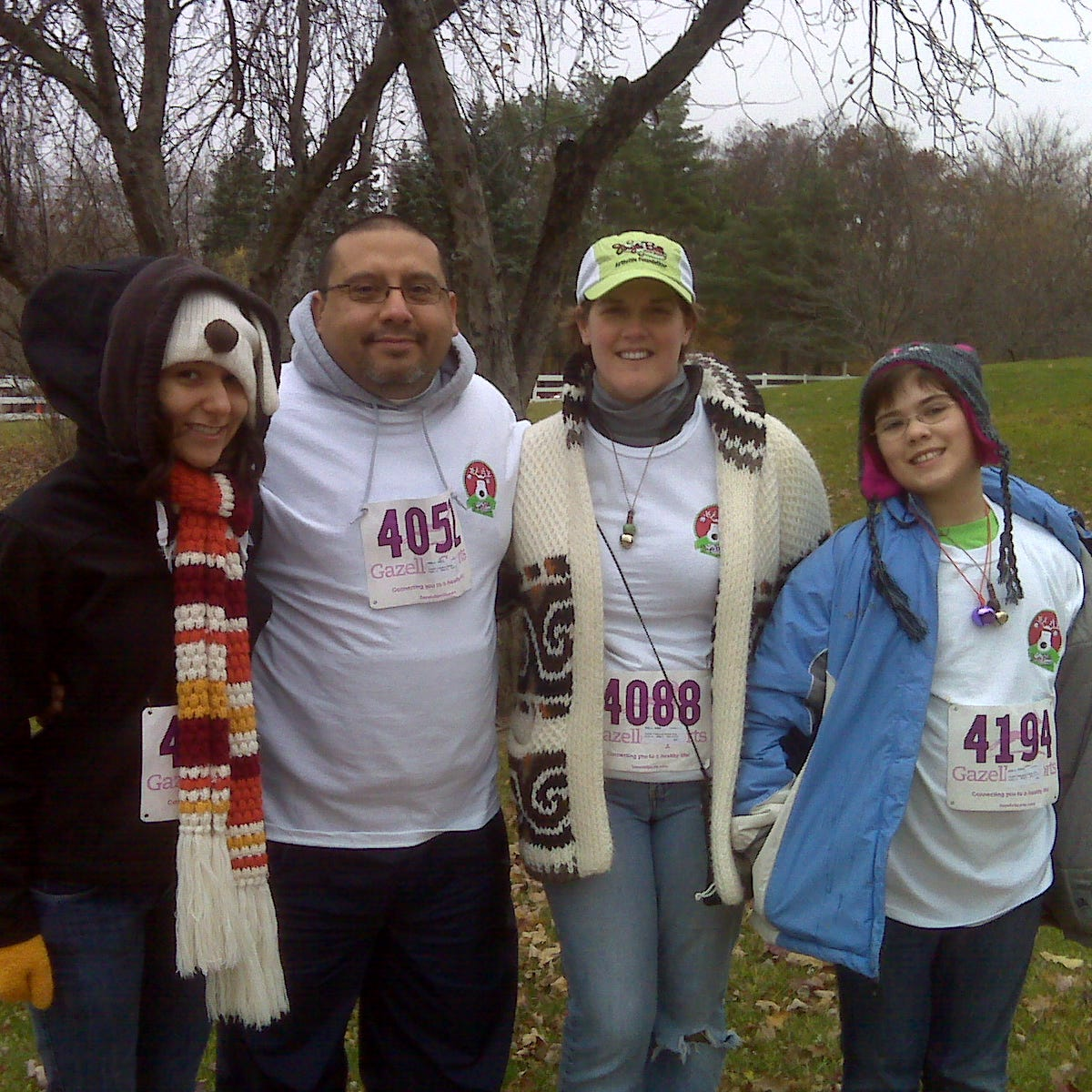 Bonnie Jean Feldkamp and her family at the Jingle Bell Arthritis 5K in 2010, the same year she was diagnosed.