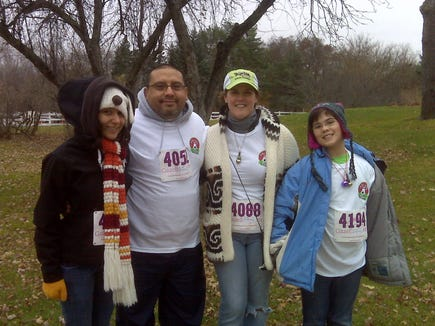 Bonnie Jean Feldkamp and her family at the Jingle Bell Arthritis 5K in 2010, the same year she was diagnosed with psoriatic arthritis. The autoimmune disease leaves her vulnerable to the flu and other viruses.