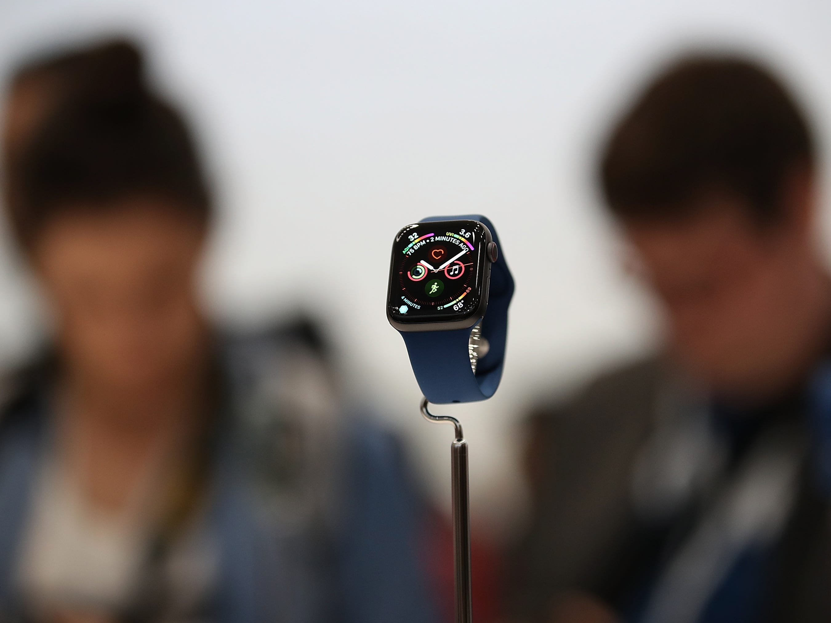 The new Apple Watch Series 4 is displayed during an Apple special event at the Steve Jobs Theatre on Sept. 12, 2018, in Cupertino, Calif.