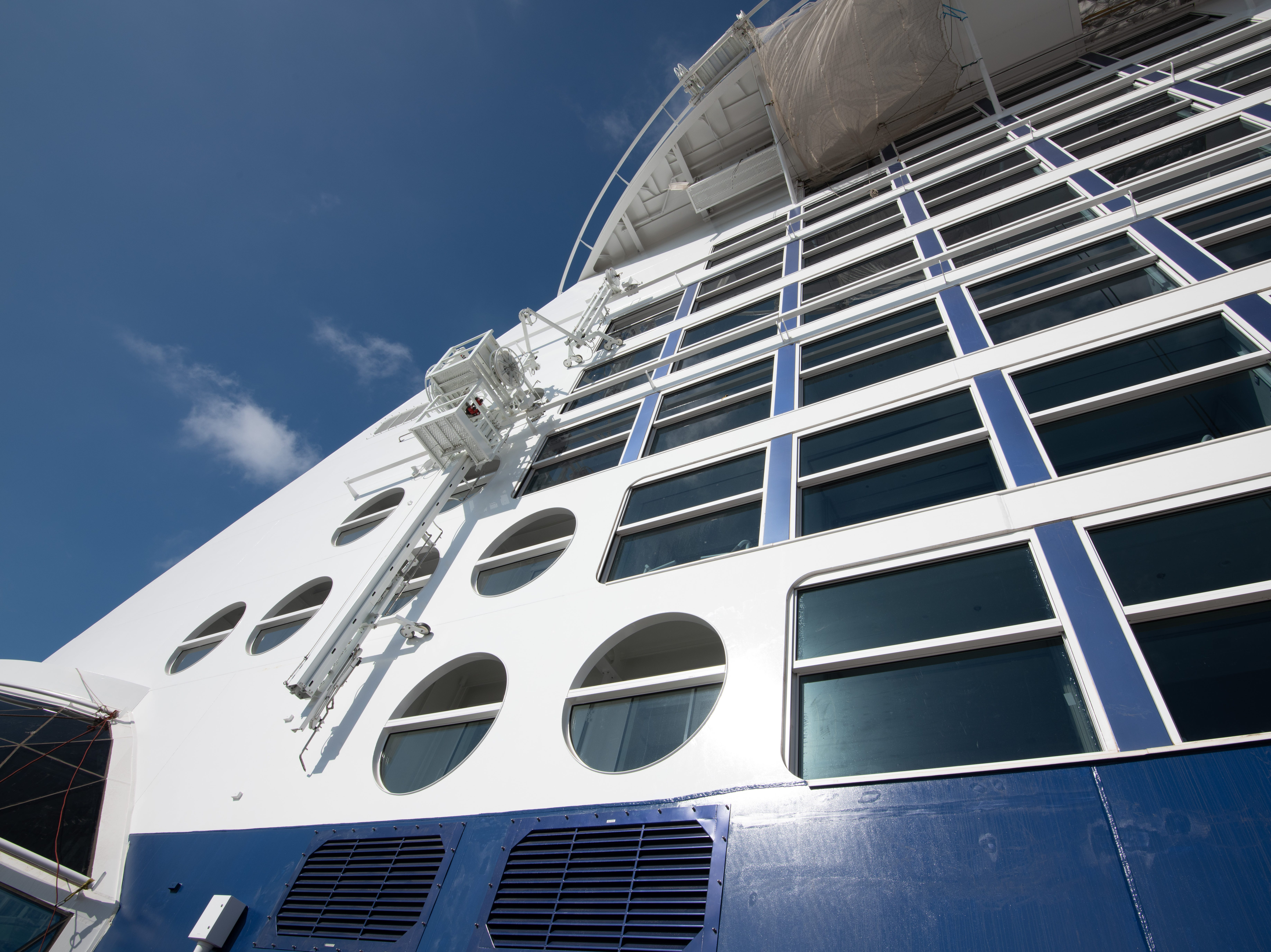 A detail of Celebrity Edge's exterior.