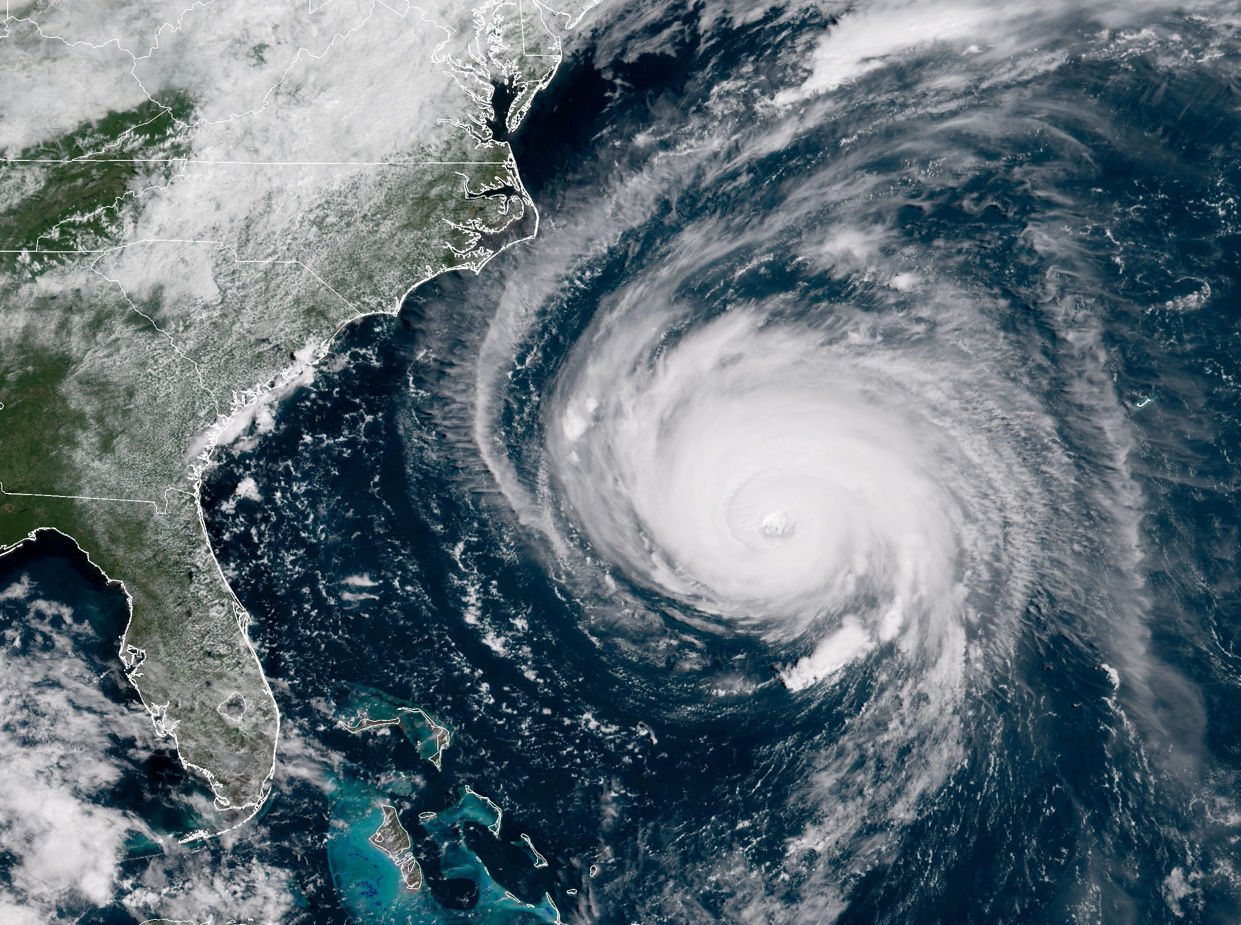 Hurricane Florence on Sept. 12, 2018, in this satellite image provided by the National Oceanic and Atmospheric Administration.