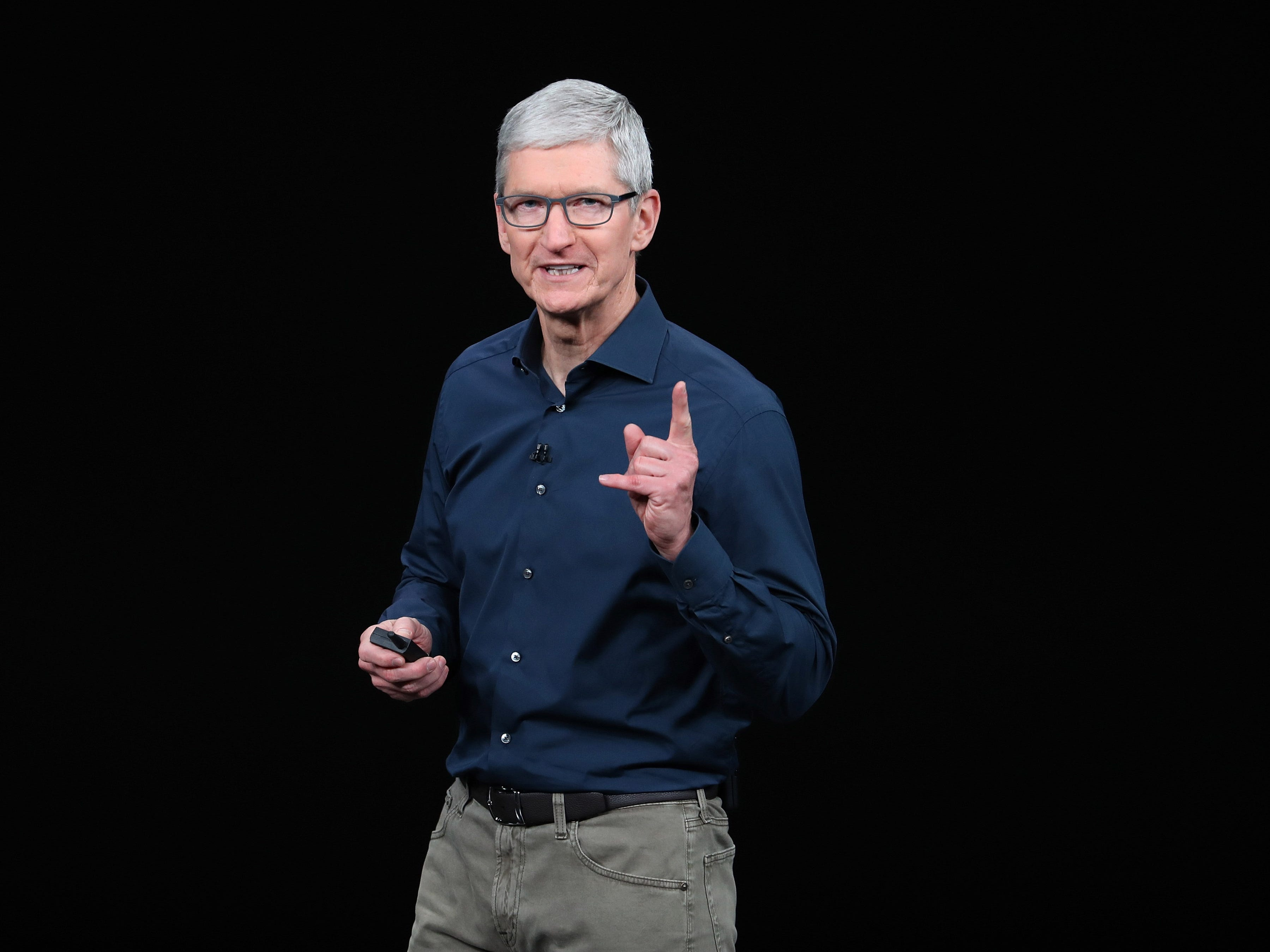 Tim Cook, chief executive officer of Apple,  speaks during an Apple event at the Steve Jobs Theater at Apple Park on Sept. 12, 2018 in Cupertino, Calif.