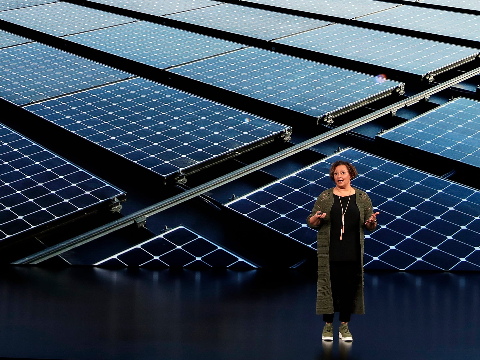 Lisa Jackson, Vice President of Environment, Policy, and Social Initiatives speaks at the Steve Jobs Theater during an event to announce new products Wednesday, Sept. 12, 2018, in Cupertino, Calif.