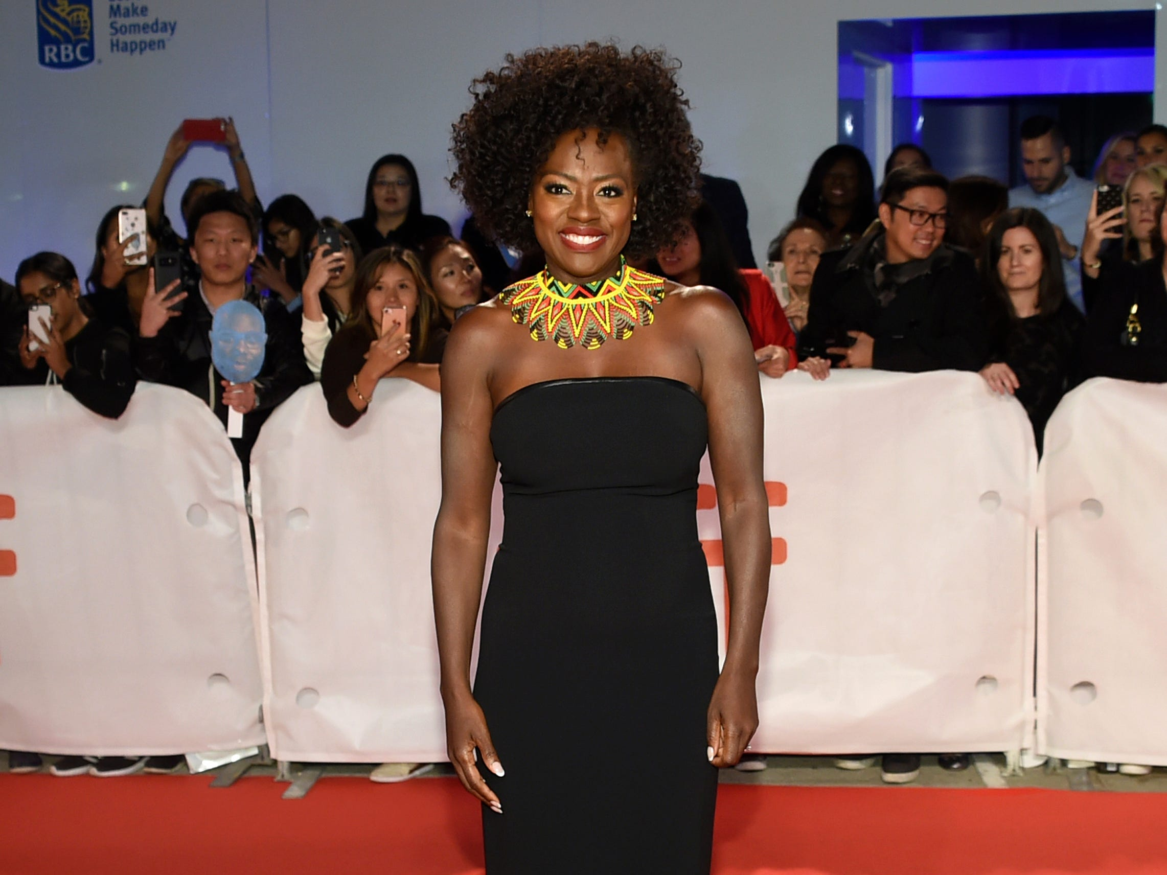 "Viola Davis looked stunning at Saturday's Toronto premiere for her new Steve McQueen-directed drama, ""Widows."""
