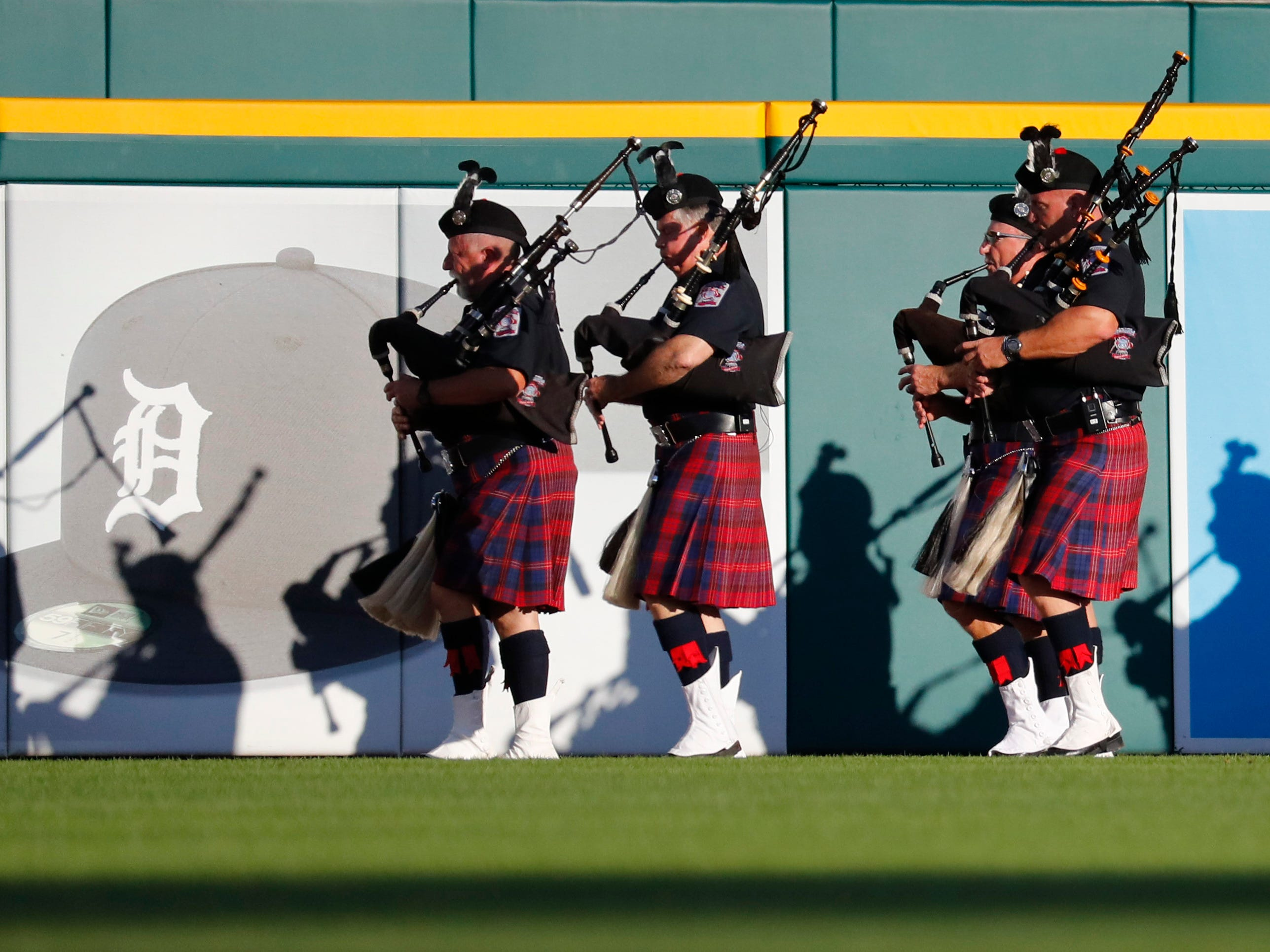 Metro Detroit Pipes and Drums perform at Comerica Park.