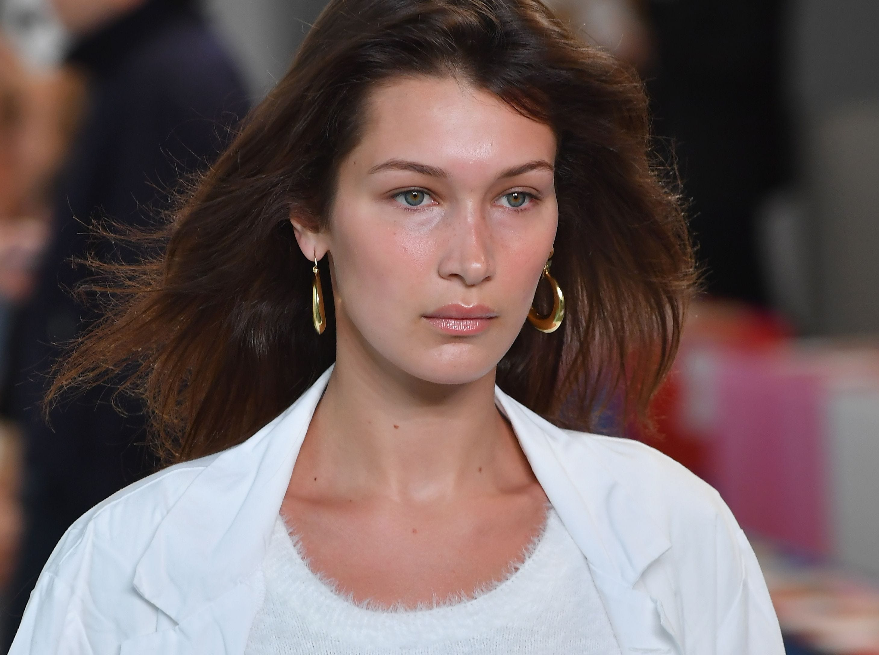 Model Bella Hadid prepares backstage at the Michael Kors Collection Spring 2019 Runway Show at Pier 17 on September 12, 2018 in New York City. (Photo by Angela Weiss / AFP)ANGELA WEISS/AFP/Getty Images ORIG FILE ID: AFP_1919K0