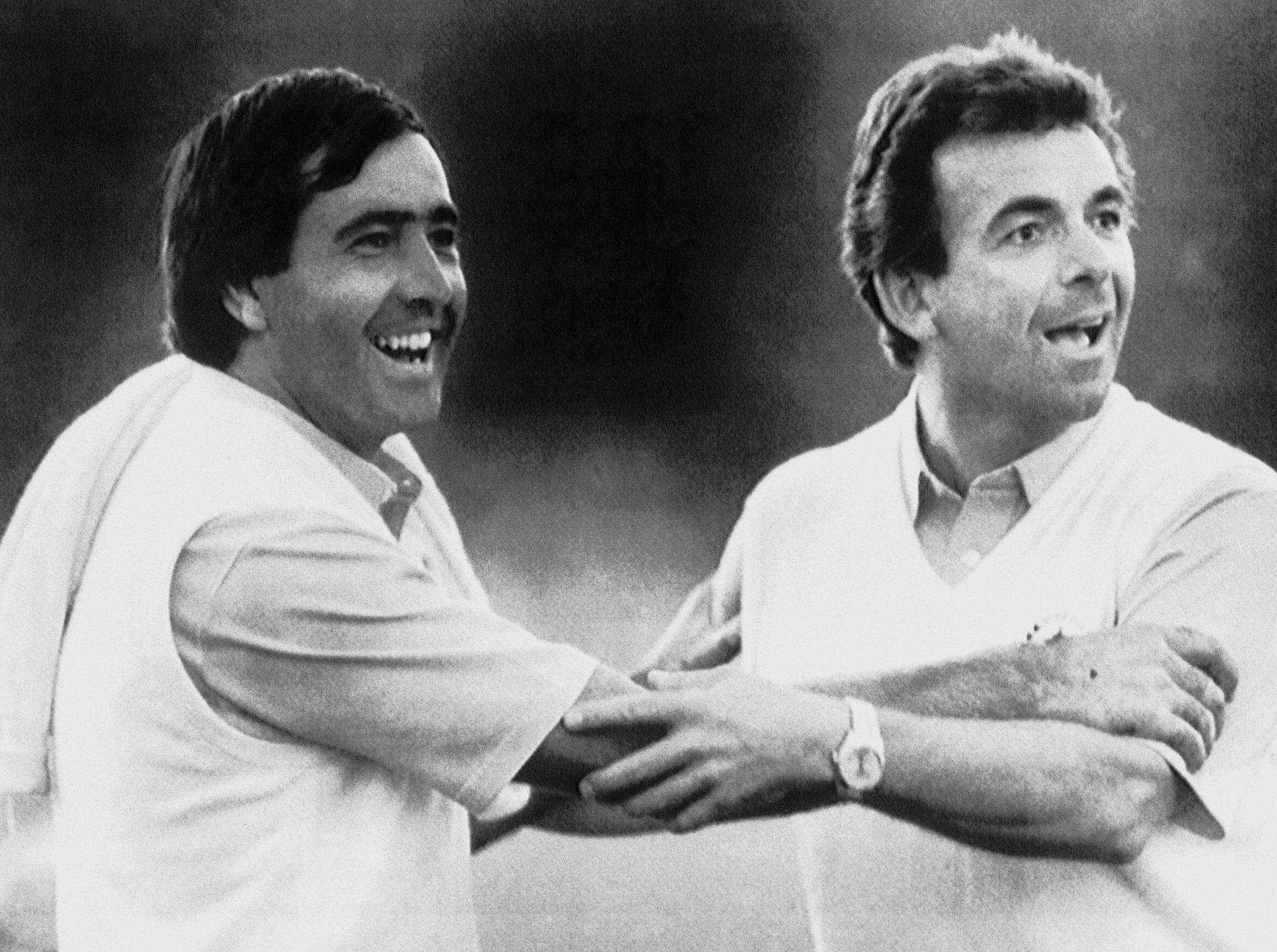 Team Europe, 1987: Seve Ballesteros and European captain Tony Jacklin celebrate after defeating the US for the first time in America, 15-13.
