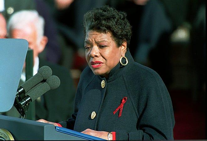 Poet Maya Angelou speaks at Bill Clinton's inauguration, Jan. 20, 1993.