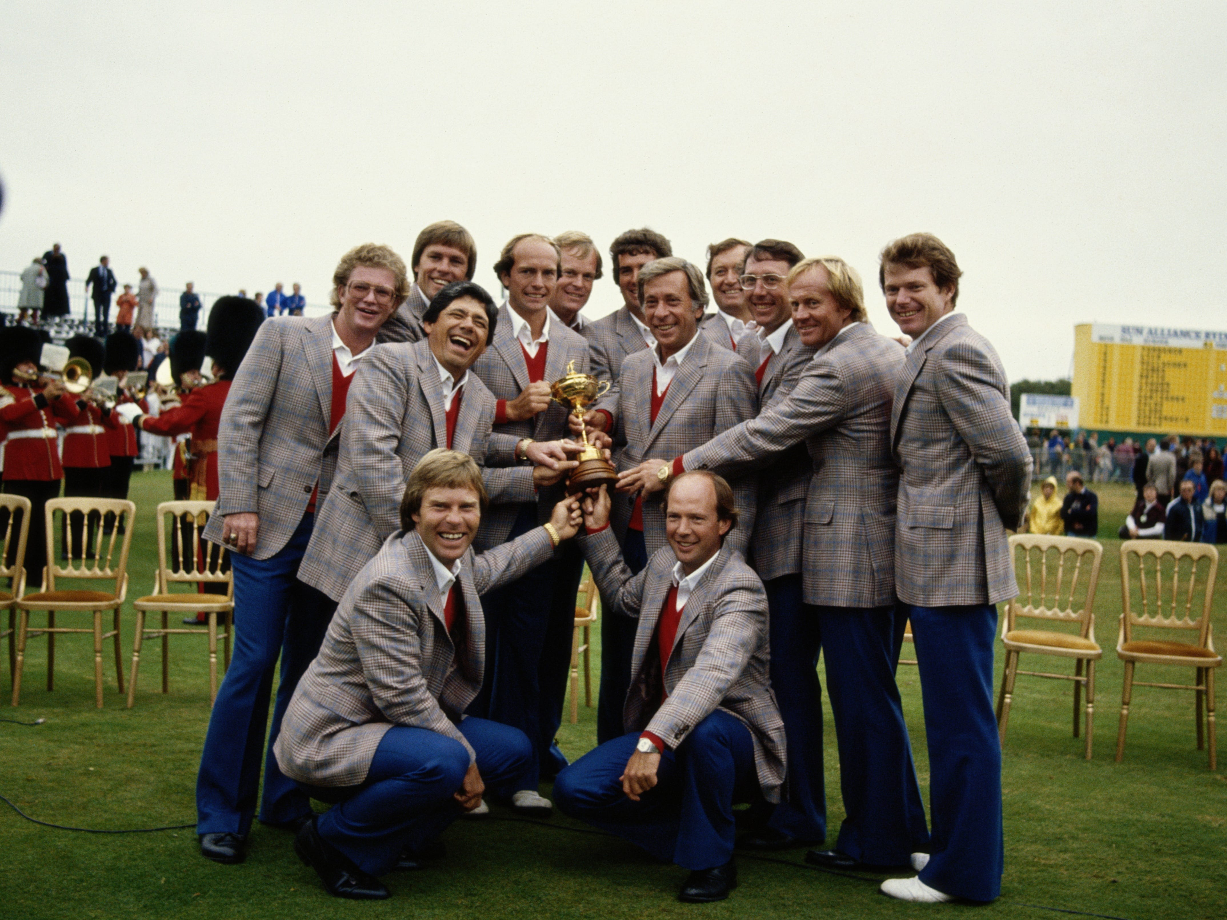 Team USA, 1981: The team celebrates with the trophy after defeating Team Europe.