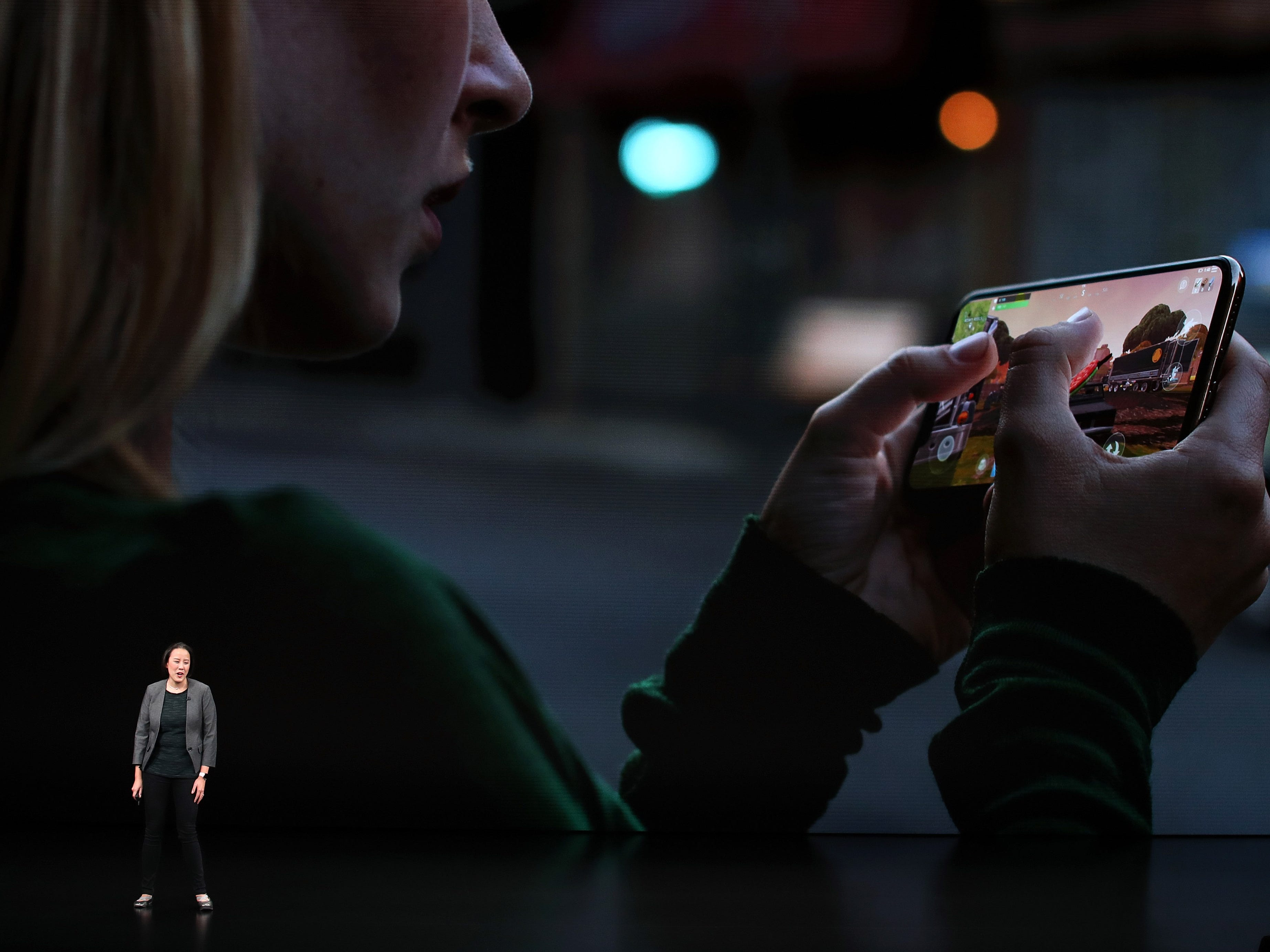 Kaiann Drance, Apple's senior director, iPhone Worldwide Product Marketing, speaks at an Apple event at the Steve Jobs Theater at Apple Park on Sept. 12, 2018, in Cupertino, Calif.