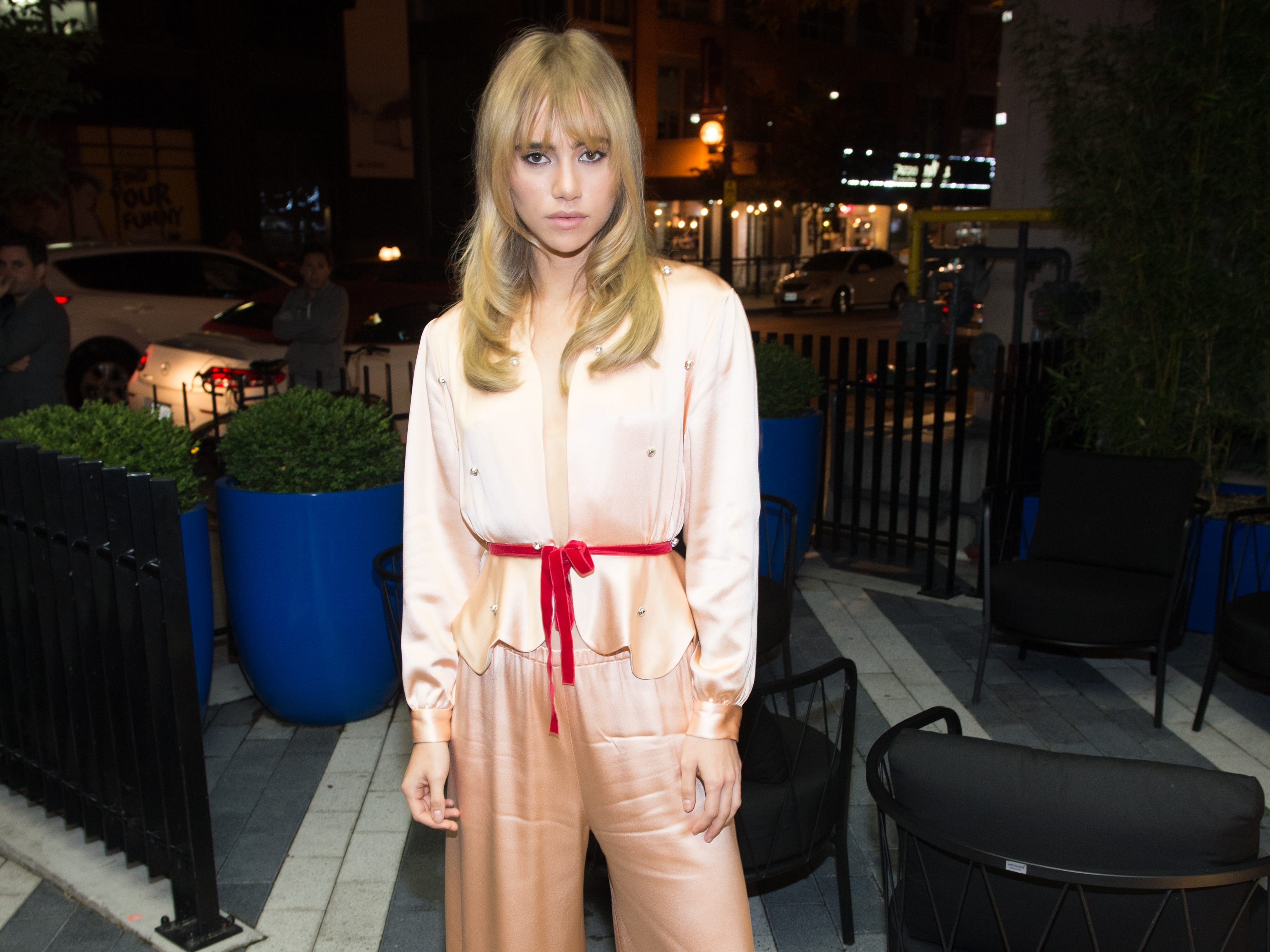 "Suki Waterhouse attends the ""Assassination Nation"" screening on Monday."