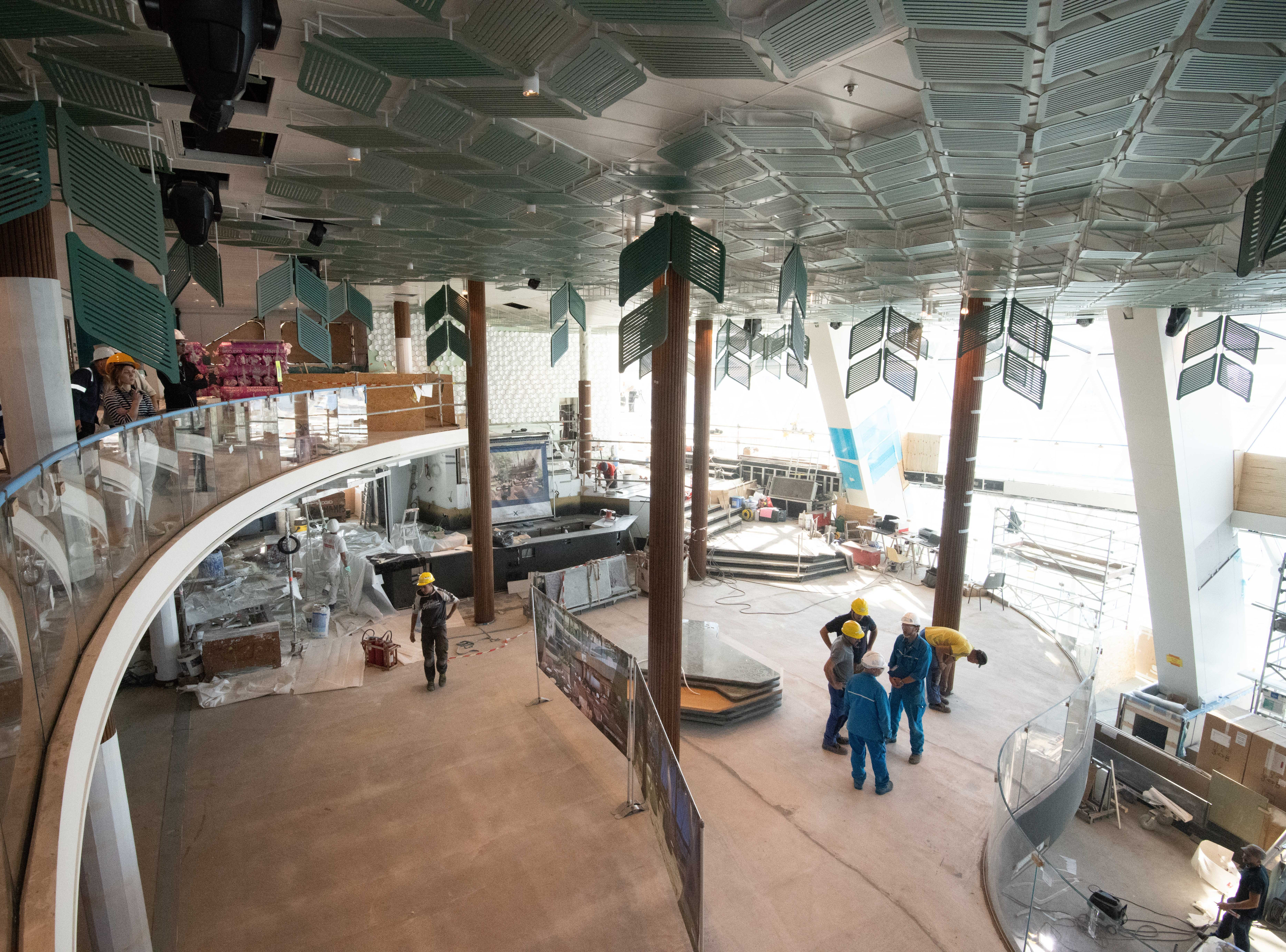 A highlight of Celebrity Edge will be Eden, a three-deck high terraced lounge that overlooks the back of the ship. It features floor-to-ceiling windows that span all three decks as well as window seating along a ramped walkway.