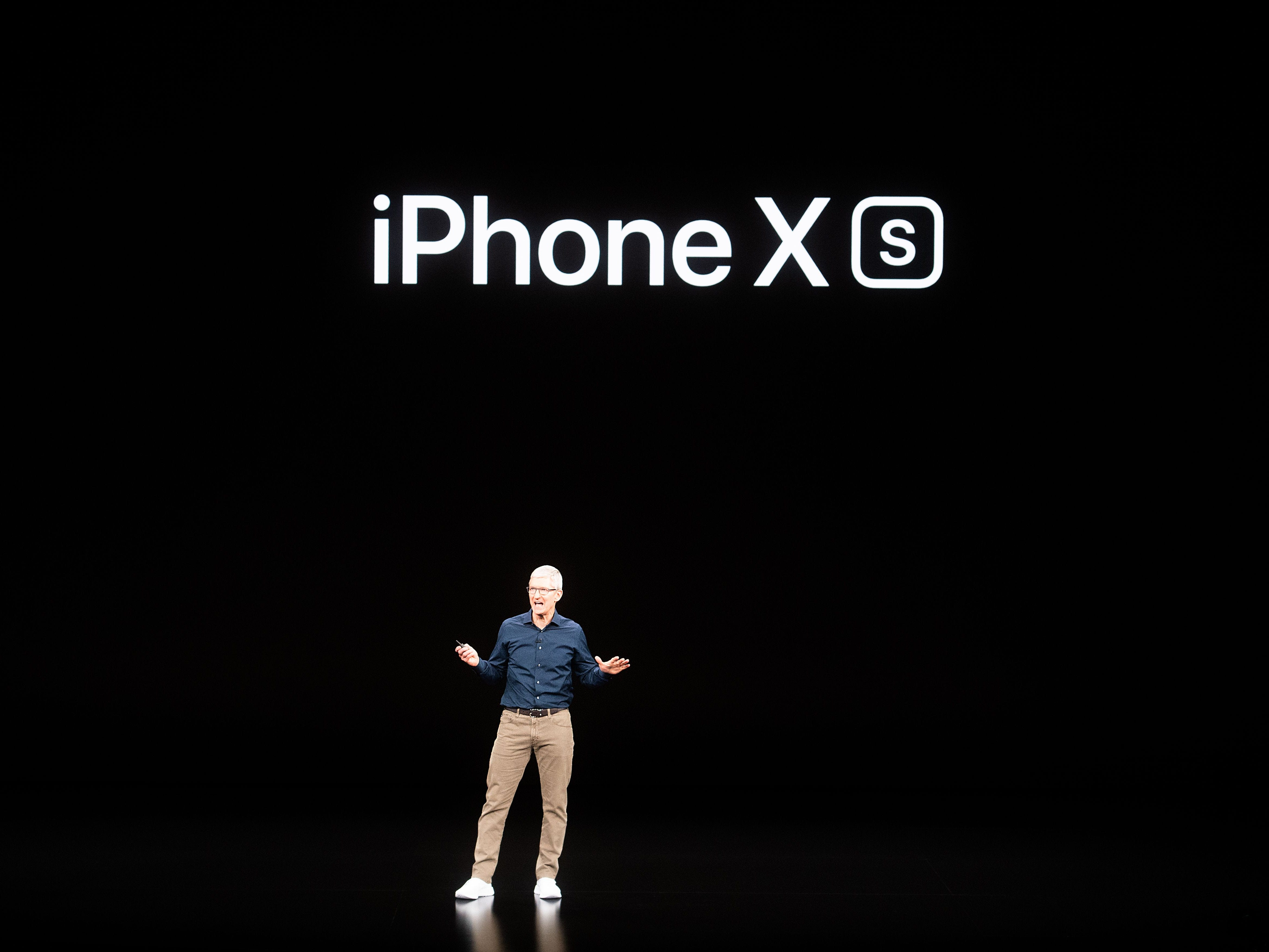 Apple CEO Tim Cook introduces the iPhone XS during an event on September 12, 2018, in Cupertino, Calif.