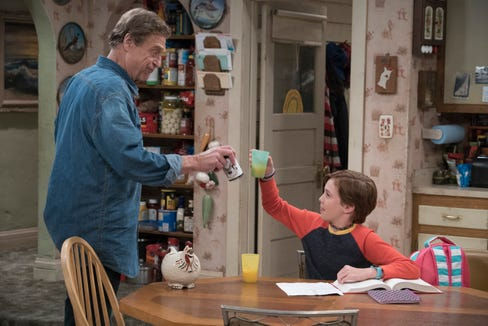 """John Goodman and Ames McNamara in a first-look still from """"The Conners."""""""