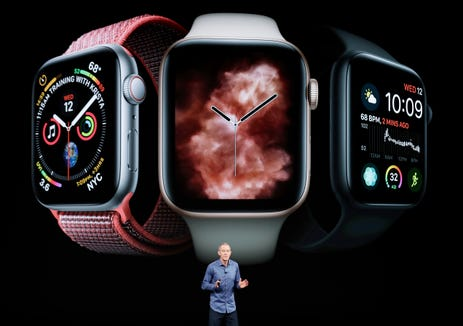 Jeff Williams, Apple's chief operating officer, speaks about the Apple Watch Series 4 at the Steve Jobs Theater during an event to announce new Apple products Wednesday, Sept. 12, 2018, in Cupertino, Calif.
