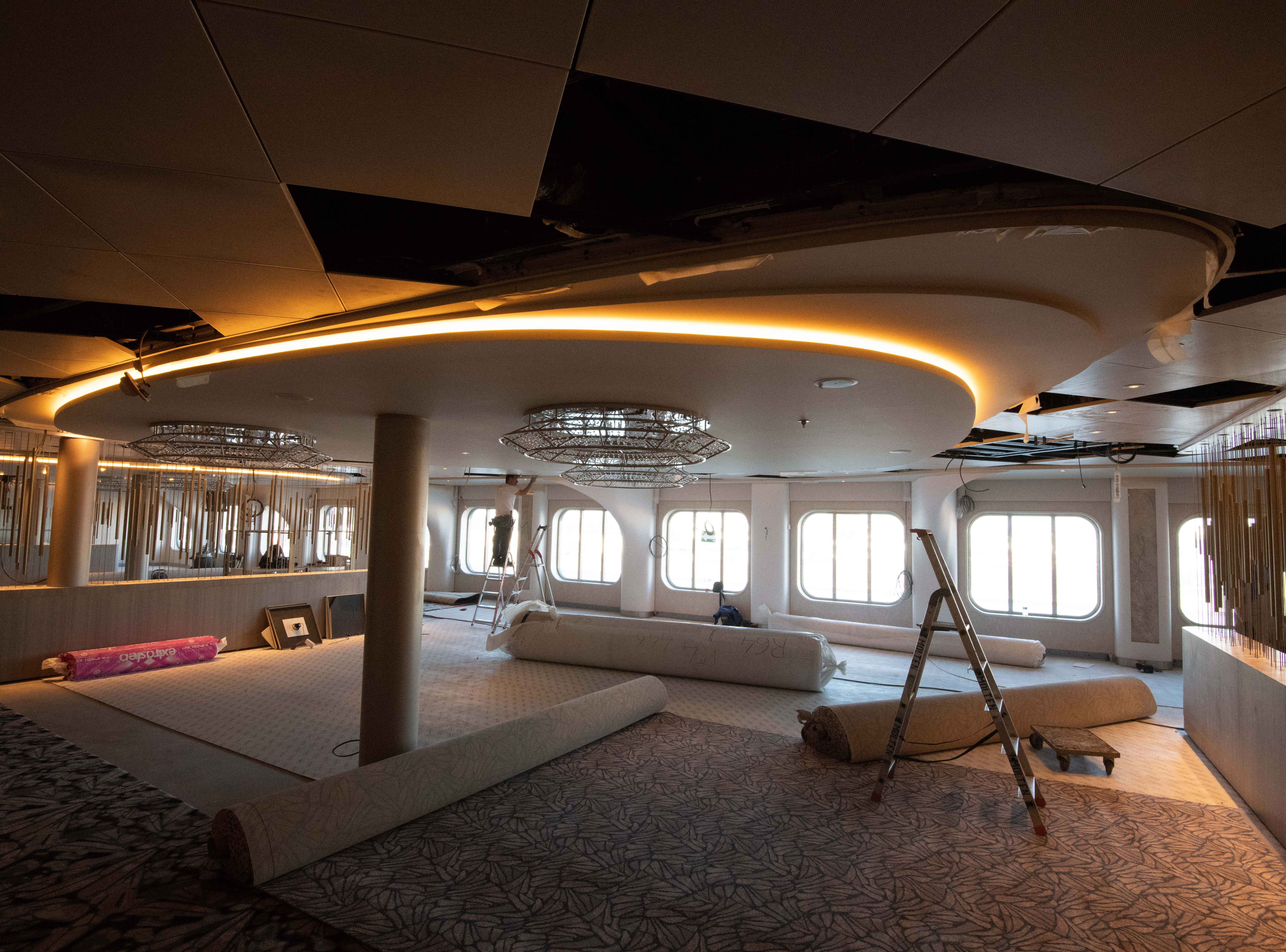 The Cosmopolitan Restaurant on Celebrity Edge takes shape during construction at the Chantiers de l'Atlantique shipyard in St. Nazaire, France.