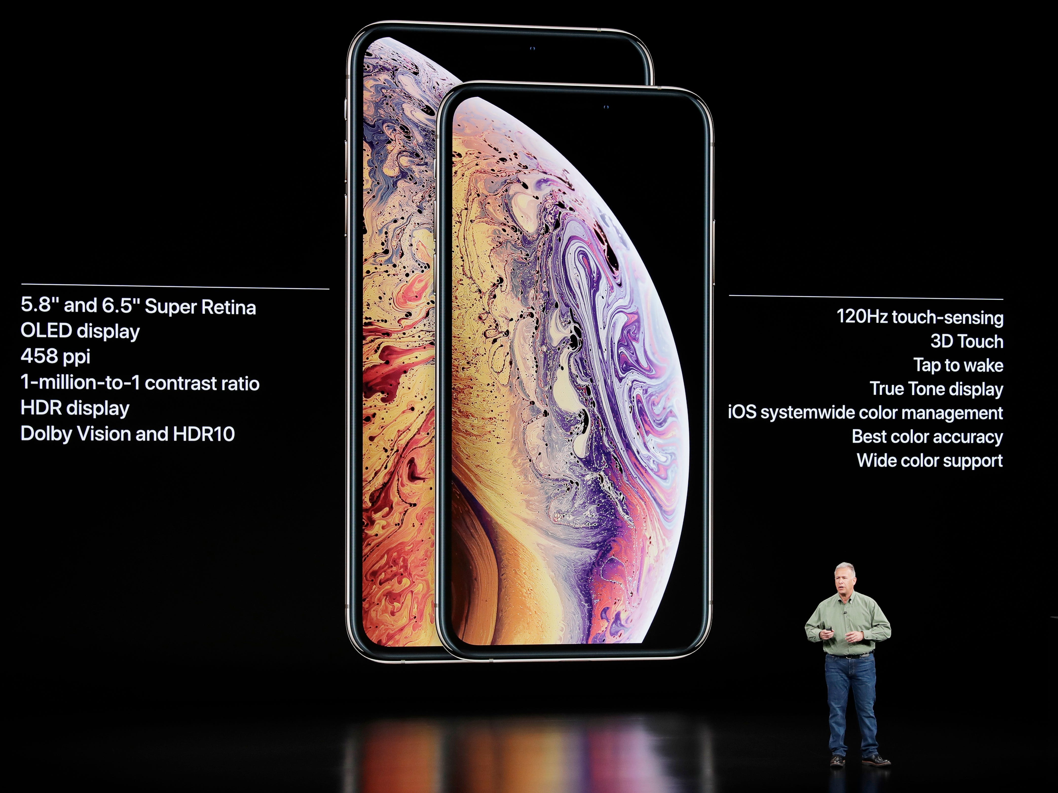 Phil Schiller, Apple's senior vice president of worldwide marketing, speaks about the Apple iPhone XS and Apple iPhone XS Max at the Steve Jobs Theater during an event to announce new Apple products Wednesday, Sept. 12, 2018, in Cupertino, Calif.