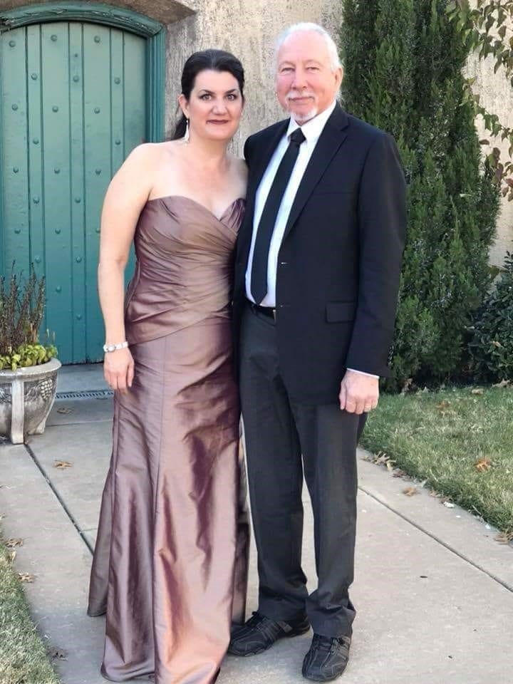 Rowe and her father at her son's wedding.