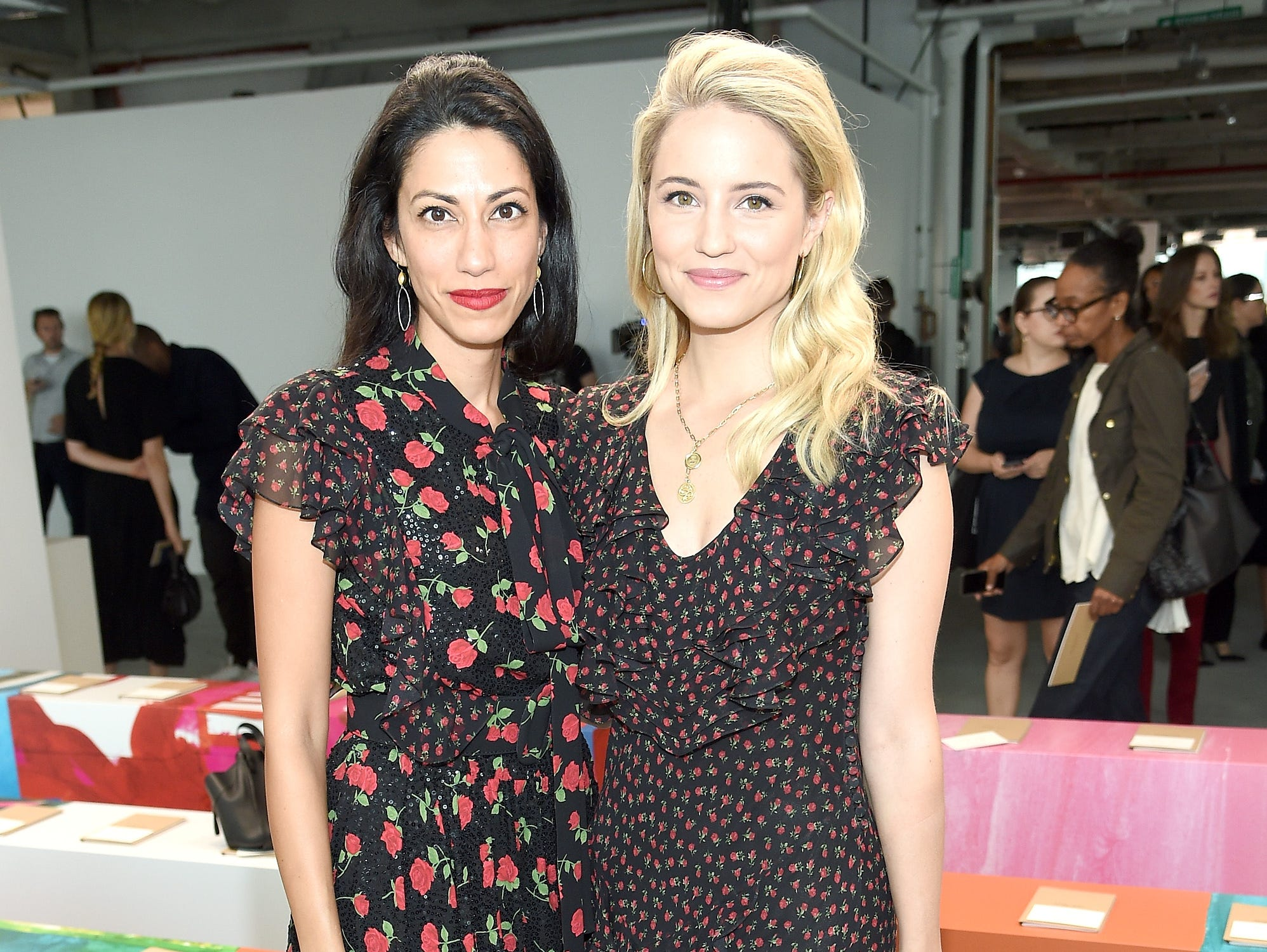 NEW YORK, NY - SEPTEMBER 12: Huma Abedin (L) and Diana Argon attend the Michael Kors Collection Spring 2019 Runway Show at Pier 17 on September 12, 2018 in New York City.  (Photo by Dimitrios Kambouris/Getty Images for Michael Kors) ORG XMIT: 775216953 ORIG FILE ID: 1032086104
