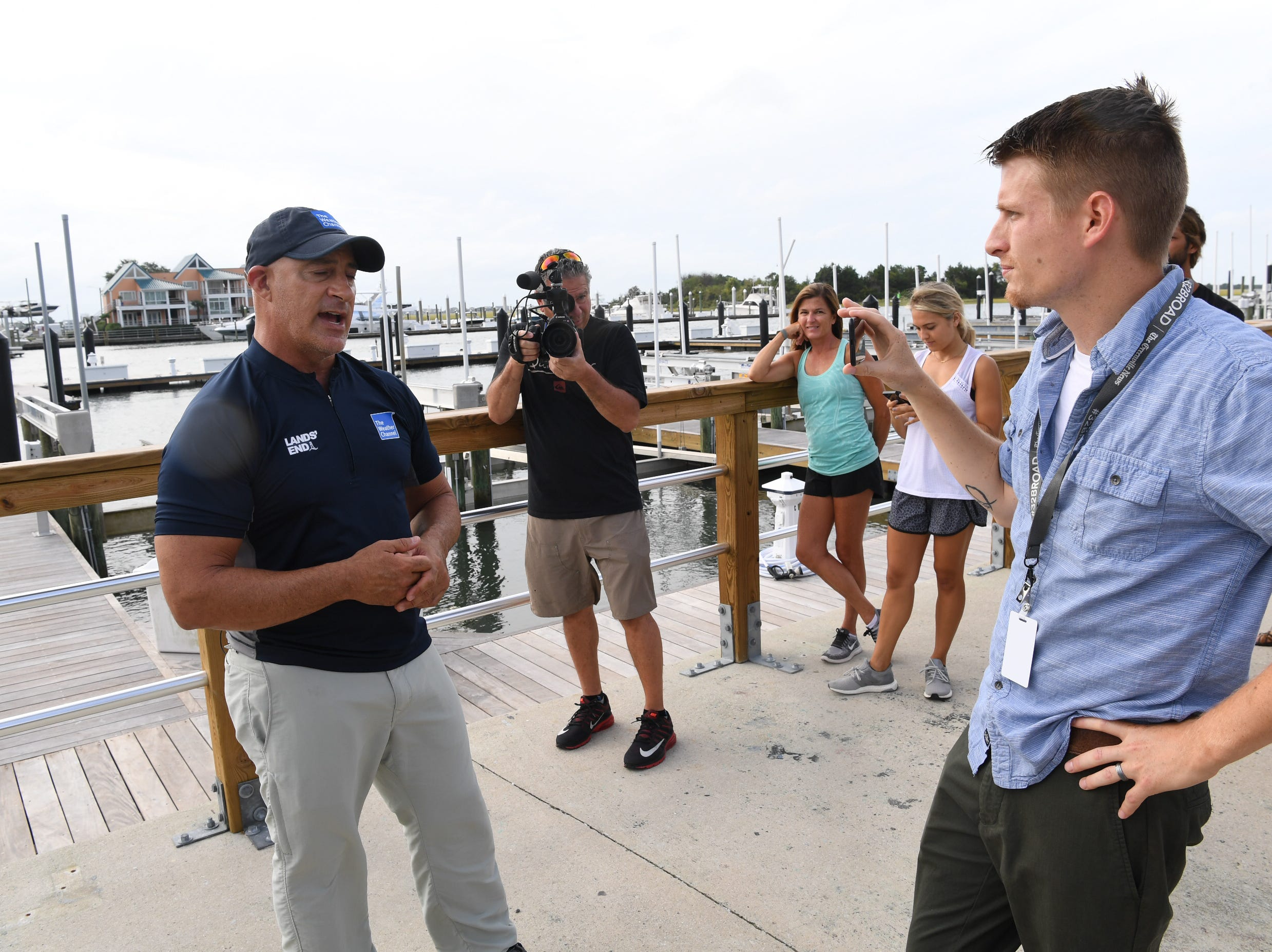 Greenville News and USA Today Network reporter Daniel Gross chats with The Weather Channel's Jim Cantore on Thursday, Sept. 13, 2018.