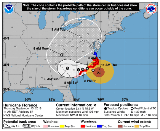 The latest projected path by the National Weather Service.
